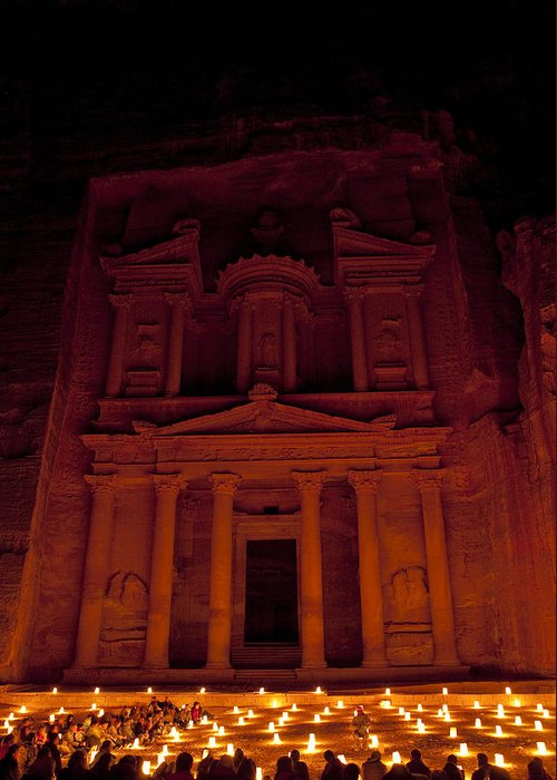 Petra Greeting Card featuring the photograph The Famous Treasury Lit Up At Night by Taylor S. Kennedy
