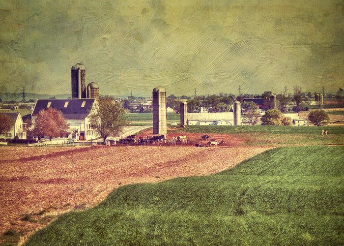 Amish Greeting Card featuring the photograph The Farm In Lancaster by Kathy Jennings