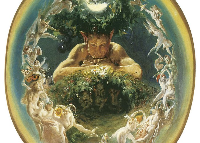 Daniel Maclise Greeting Card featuring the painting The Faun And The Fairies by Daniel Maclise