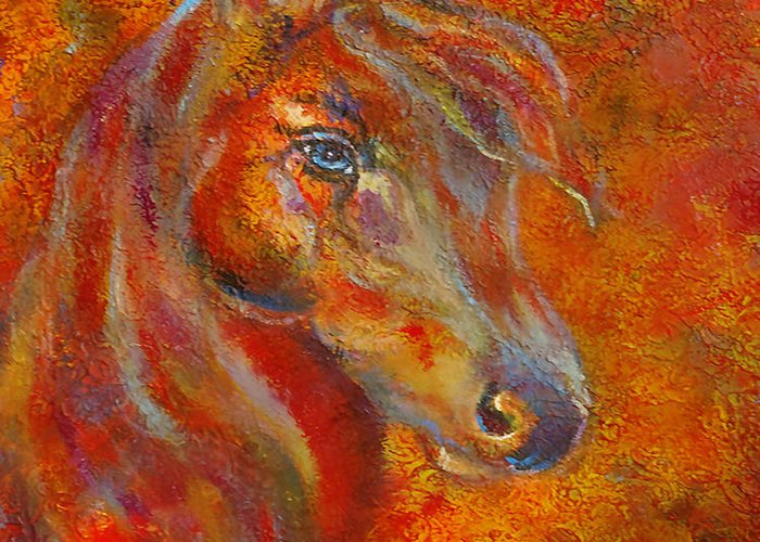 Horse Painting Greeting Card featuring the painting The Fire Of Passion by The Art With A Heart By Charlotte Phillips