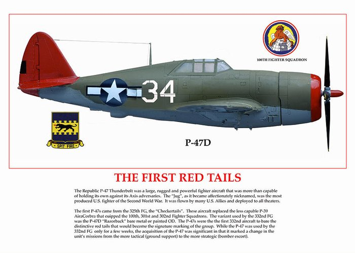 Aviation Greeting Card featuring the digital art The First Red Tails by Jerry Taliaferro