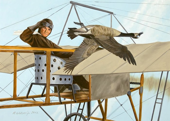 Aviator Greeting Card featuring the painting The Fledgling by Karen Wilson