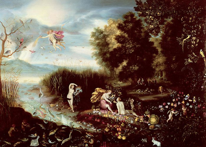 The Greeting Card featuring the painting The Four Elements by Flemish School