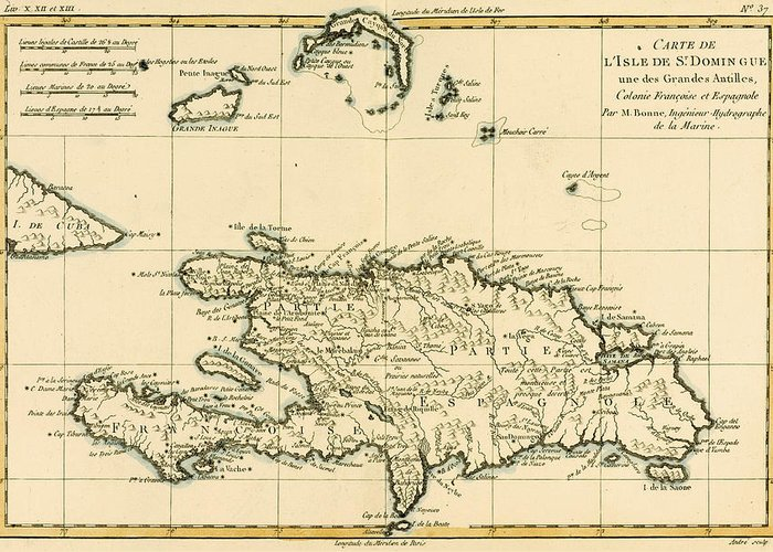 Engraving Greeting Card featuring the drawing The French And Spanish Colony Of The Island Of St Dominic Of The Greater Antilles by Guillaume Raynal
