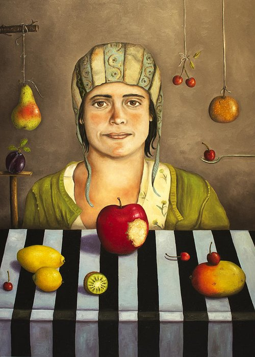 Fruit Greeting Card featuring the painting The Fruit Collector 2 by Leah Saulnier The Painting Maniac