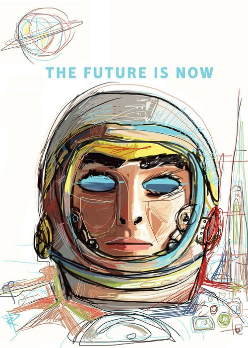 Astronaut Greeting Card featuring the mixed media The Future Is Now by Russell Pierce