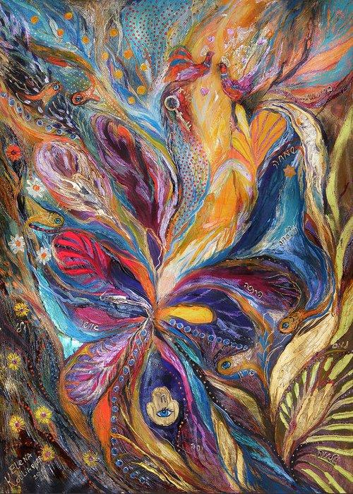 Original Greeting Card featuring the painting The Galilee Iris by Elena Kotliarker