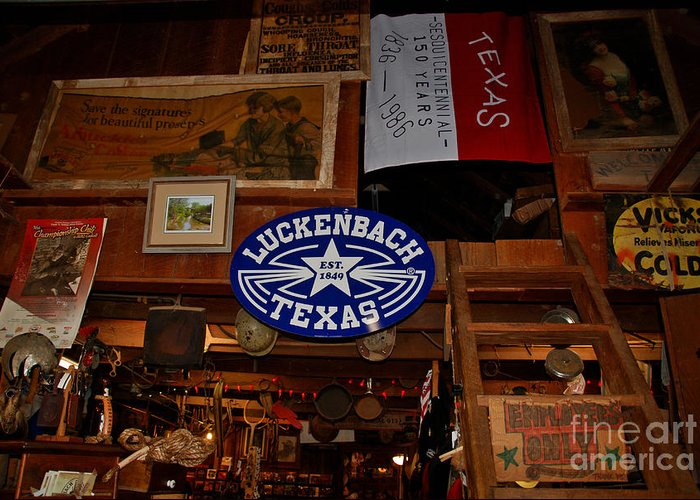 Luckenbach Greeting Card featuring the photograph The General Store In Luckenbach Tx by Susanne Van Hulst