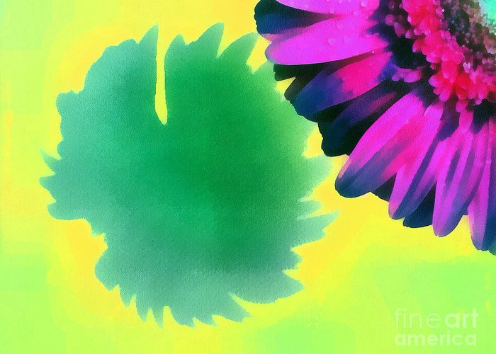 Odon Greeting Card featuring the painting The Gerbera by Odon Czintos