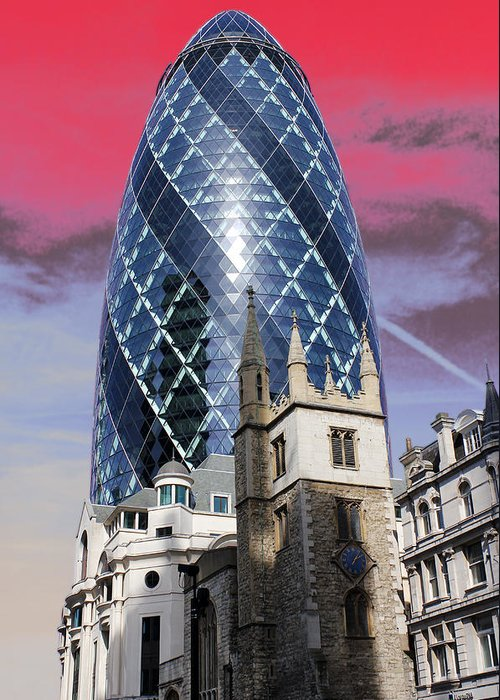 Gherkin Greeting Card featuring the photograph The Gherkin London by Jasna Buncic