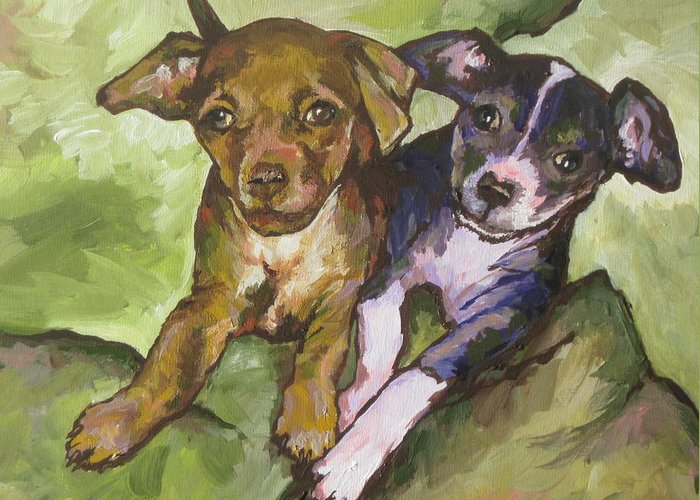 Girls Greeting Card featuring the painting The Girls by Sandy Tracey