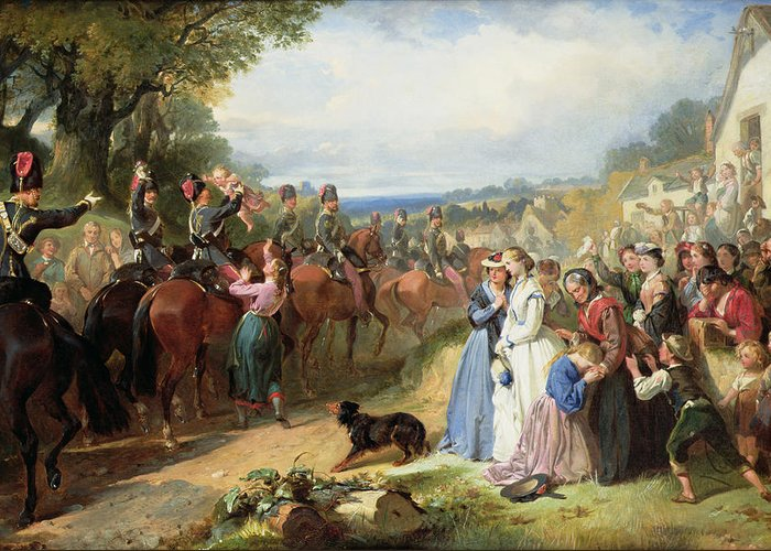 Army; Military; Soldiers; Hussar; Leaving; Farewell; Waving; Children; Raj; Wives; Dog; Landscape; Victorian; Weeping; Crying; Bravery; War; Sad; Family; Village; English; Soldier; Departing; Overseas; Journey; Girl; Crowd Greeting Card featuring the painting The Girls We Left Behind Us - The Departure Of The 11th Hussars For India by Thomas Jones Barker