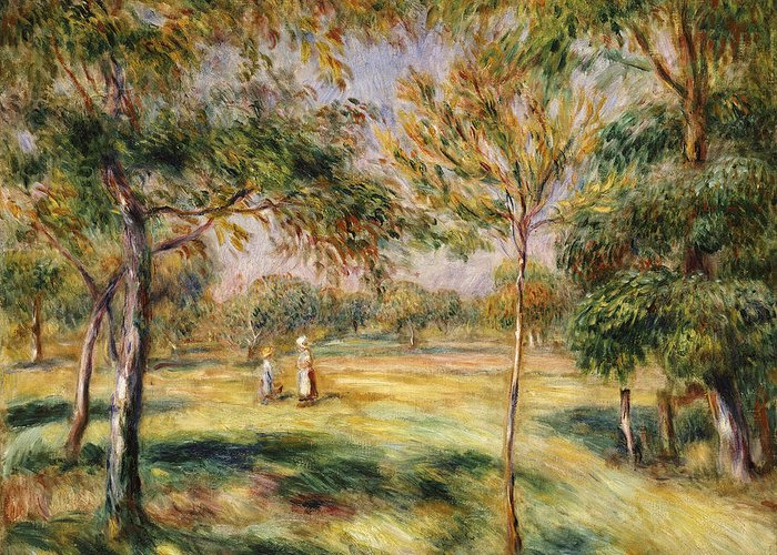 Impressionist; Impressionism; Countryside; Landscape; Tree Greeting Card featuring the painting The Glade by Pierre Auguste Renoir