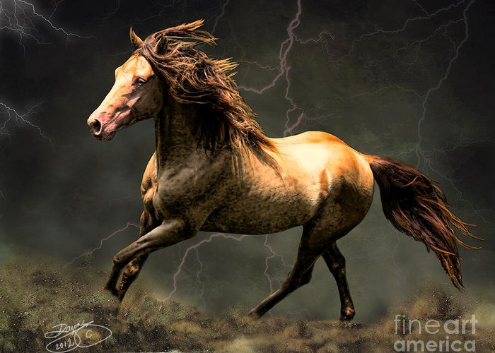 Horse Greeting Card featuring the digital art The Gold by Dawn Young