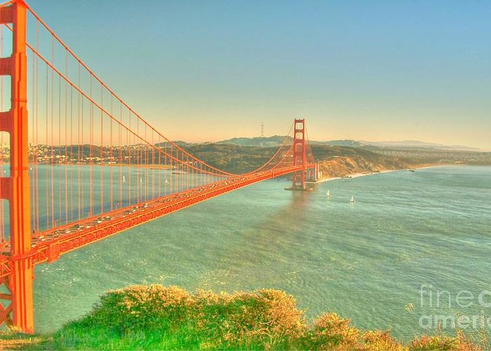 The Golden Gate Bridge Greeting Card featuring the digital art The Golden Gate Bridge Fall Season by Alberta Brown Buller
