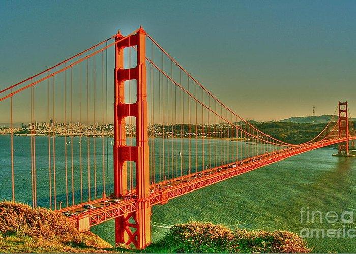 Golden Gate Bridge Greeting Card featuring the digital art The Golden Gate Bridge Summer by Alberta Brown Buller