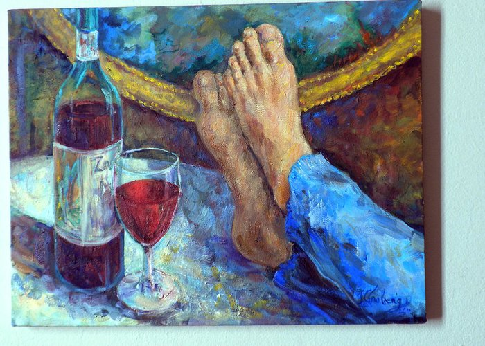 Wine Bottle Painting Greeting Card featuring the painting The Good Life by Jean Groberg