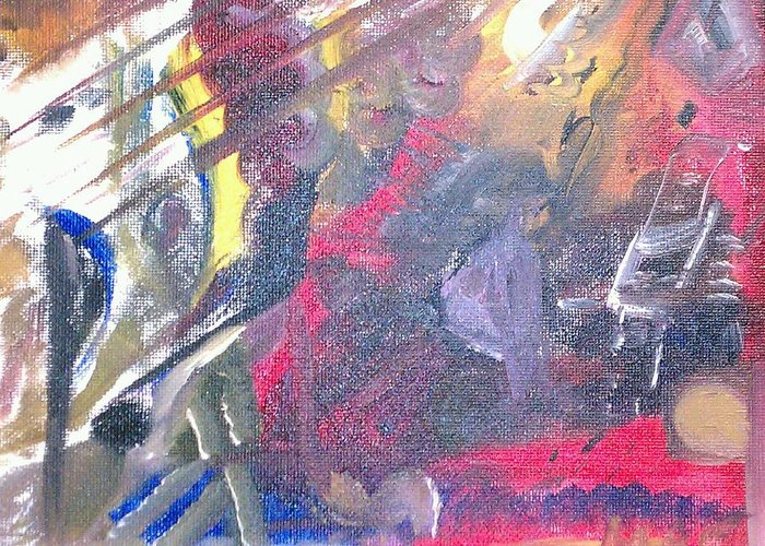 Abstract Greeting Card featuring the painting The Grand Musician by Mae Hermansen