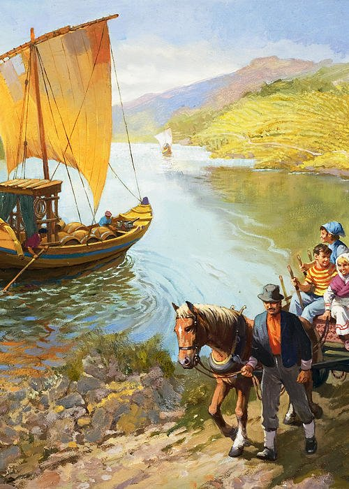 Grapes; Male; Female; Children; Child; Horse And Cart; Ship; Boat; Sail; River; Wine Making; Fruit; Vinivulture; Workers; Creek; Worker Greeting Card featuring the painting The Grape-pickers Of Portugal by van der Syde