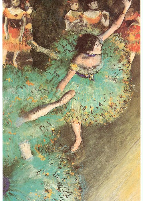 The Green Dancer Greeting Card featuring the pastel The Green Dancer by Edgar Degas