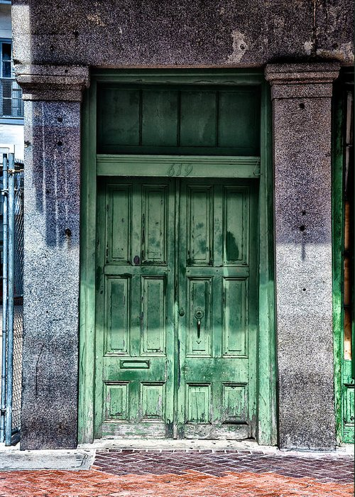 The Green Door In The French Quarter Greeting Card featuring the photograph The Green Door In The French Quarter by Bill Cannon