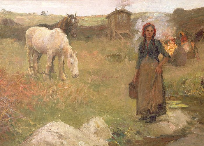 Gypsies; Encampment; Ponies; Pony; Caravan; Girl; Female; Romany; Romanies; Nomadic; Itinerant; Gipsy; Edwardian; Newlyn School; Community Greeting Card featuring the painting The Gypsy Camp by Harold Harvey