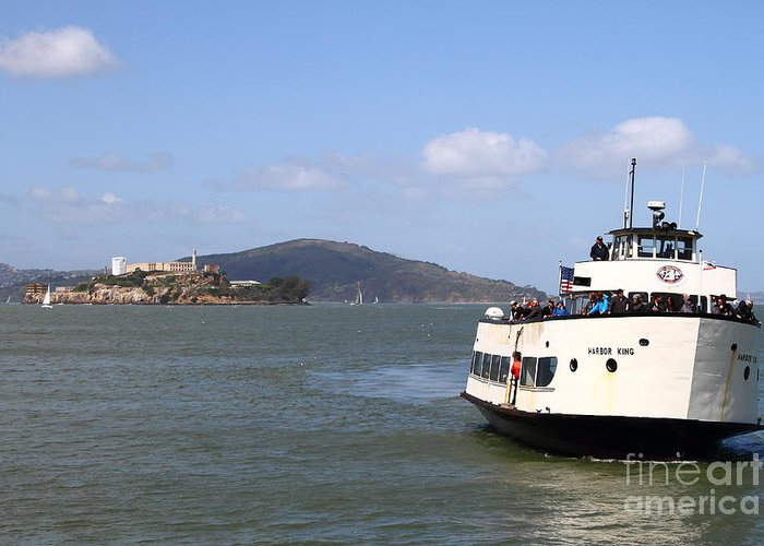 San Francisco Greeting Card featuring the photograph The Harbor King Ferry Boat On The San Francisco Bay With Alcatraz Island In The Distance . 7d14355 by Wingsdomain Art and Photography