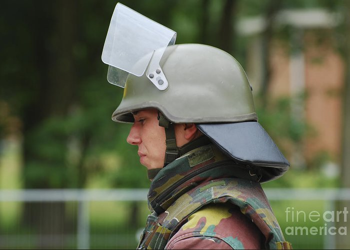 Belgium Greeting Card featuring the photograph The Helmet And Visor Used by Luc De Jaeger
