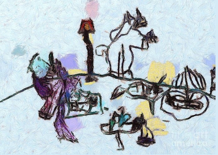 Odon Greeting Card featuring the painting The Horses Picnic by Odon Czintos
