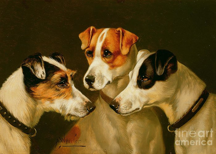 Dog Greeting Card featuring the painting The Hounds by Alfred Wheeler