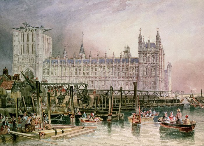 Construction Begun Greeting Card featuring the painting The Houses Of Parliament In Course Of Erection by John Wilson Carmichael