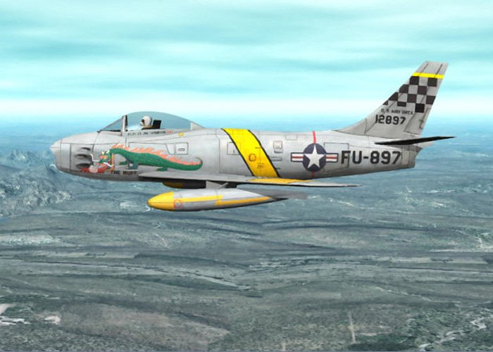 North American F-86 Sabrejet Greeting Card featuring the digital art The Huff by Walter Colvin