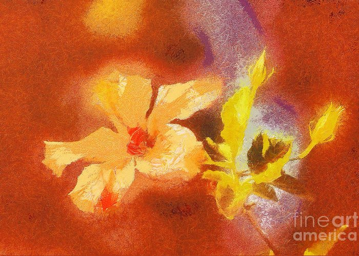 Odon Greeting Card featuring the painting The Iris Flower by Odon Czintos