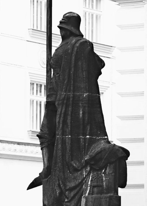Prague Greeting Card featuring the photograph The Iron Knight - Darth Vader Watches Over Prague Cz by Christine Till