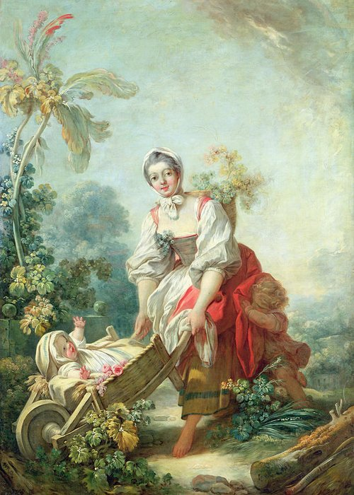 Maternal Greeting Card featuring the painting The Joys Of Motherhood by Jean-Honore Fragonard