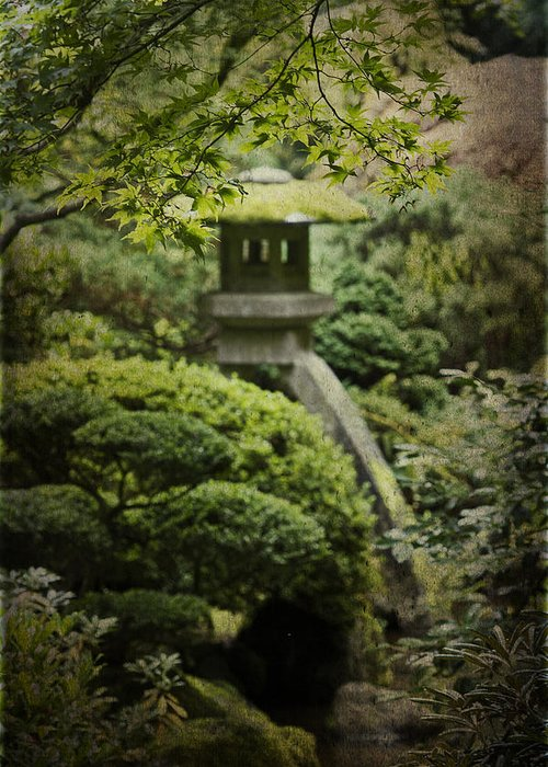 Portland Japanese Garden Greeting Card featuring the photograph The Lantern by Rebecca Cozart