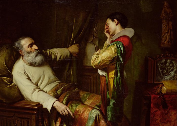 The Last Moments Of Christopher Columbus (1450-1506) 1870 (oil On Canvas) Ordering His Son To Place The Chains He Wore When Arrested In The Coffin With Him; Dying; Old; Death; Spanish Explorer; Father; Last Wishes; Manacles; Christophe Colomb;deathbed Greeting Card featuring the painting The Last Moments Of Christopher Columbus by Claude Jacquand