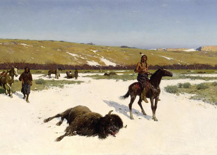 Landscape Greeting Card featuring the painting The Last Of The Herd by Henry Francois Farny
