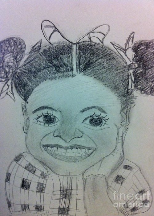 Missing Child And Death Greeting Card featuring the drawing The Late Jahessye Shockley by Charita Padilla