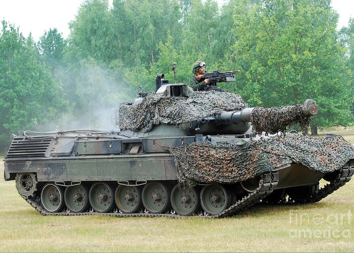Military Greeting Card featuring the photograph The Leopard 1a5 Main Battle Tank by Luc De Jaeger