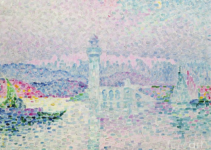 The Lighthouse At Antibes Greeting Card featuring the painting The Lighthouse At Antibes by Paul Signac