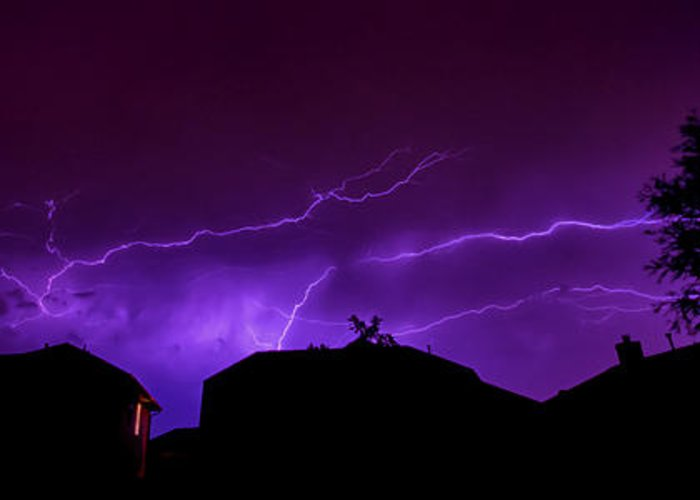 Lightning Greeting Card featuring the photograph The Lightning Over Avery Neighborhood by Lisa Spencer