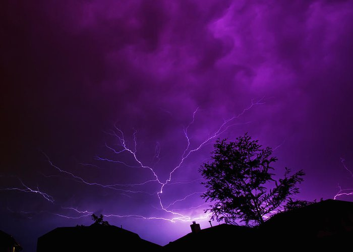 Lightning Greeting Card featuring the photograph The Lightning Spread by Lisa Spencer