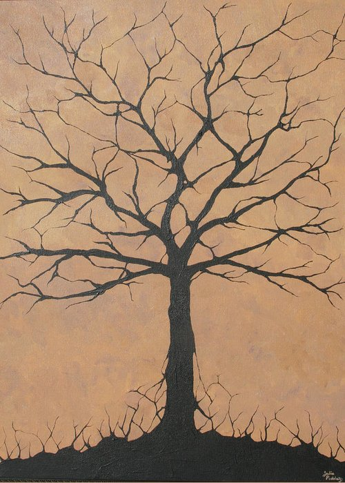 Tree Greeting Card featuring the painting the Lindsey Tree by Julia Raddatz