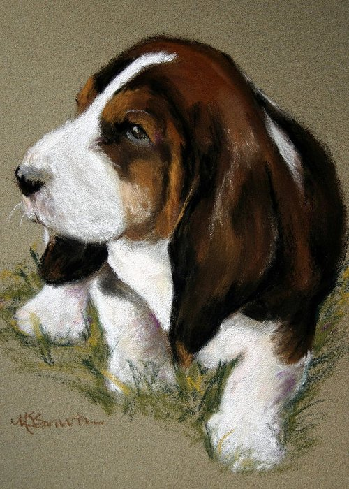Art Greeting Card featuring the pastel The Little Basset by Mary Sparrow