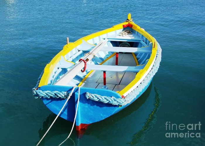 Boats Greeting Card featuring the digital art The Little Boat. by Alfie Borg