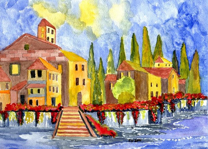 Italy Greeting Card featuring the painting The Little Village by Connie Valasco