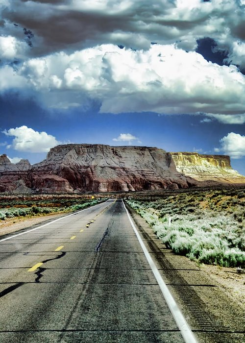 Street Greeting Card featuring the photograph The Long And Lonely Road by Ellen Heaverlo