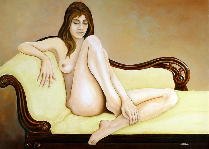 Nude Greeting Card featuring the painting The Long Pose by Tom Morgan