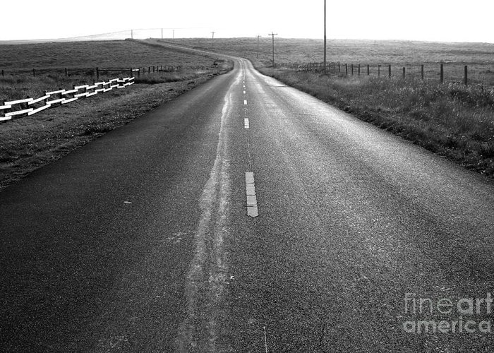 Philosophical Greeting Card featuring the photograph The Long Road Home . 7d9903 . Black And White by Wingsdomain Art and Photography